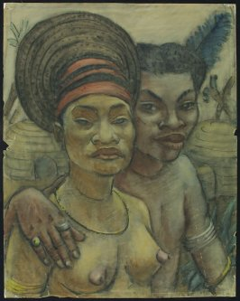 a) Untitled (African Couple)b) Untitled (Five Ceramic Vessels on a Table)