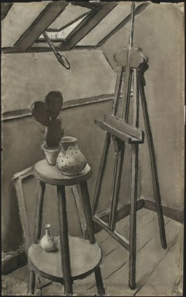 a) Untitled (Still Life with Easel and Cactus)b) Untitled (Still Life with Wine Bottle and Basket)