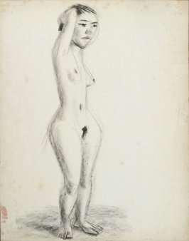 Untitled (Standing Female Nude, Bed in Background)