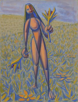 Untitled (Standing Nude Female Figure Holding a Flower)