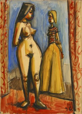 a) Untitled (Two Standing Female Figures, One Nude, One Clothed)