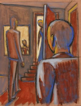 a) Untitled (Figures Approaching a Doorway)b) Untitled (Female Head)