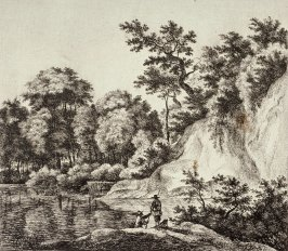 Landscape with a river and a cliff