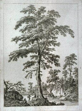 Landscape with large tree on river bank, peasant figures