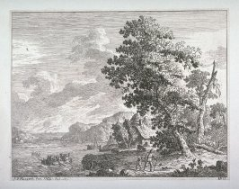 Landscape with large tree, man and boy walking, water and boats at left
