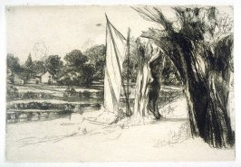 Thames Ditton, with a sail