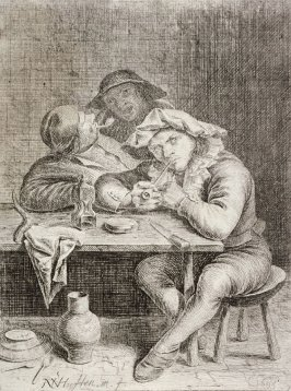 Two smokers at a table, behind them a peasant