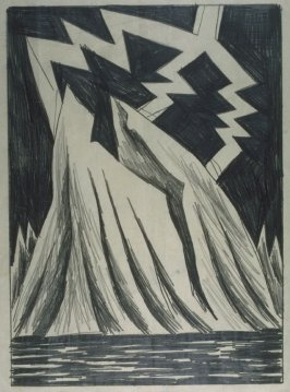 Three-Forked Lightning Bolt over Mountains