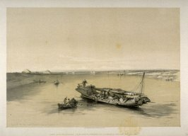 Slave Boat on the Nile, View Looking towards the Pyramids of Dashour and Saccara - Egypt
