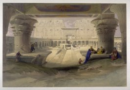 View from under the Portico of the Temple of Edfou- Egypt