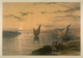 Boats on the Nile at Sundown - Egypt