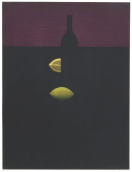 Untitled (Maroon with Yellow Lemon, Bottle Silhouette)