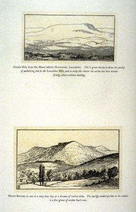 Two views: Pendle Hill, and Mount Beuvray, from 'Explanatory pen sketches' illustrating Hamerton's 'Landscape' (1885)