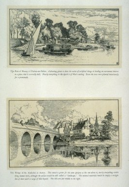 Two views: 1) The Port of Blanzy and 2) The Bridge of St Andoche, from 'Explanatory pen sketches' illustrating Hamerton's 'Landscape' (1885)