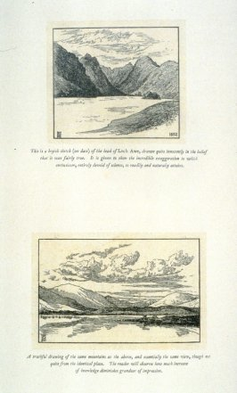 Two views of the head of Loch Awe, from 'Explanatory pen sketches' illustrating Hamerton's 'Landscape' (1885)
