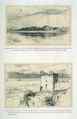 Two views: 1) Inverlochy Castle, 2) Castle Urquhart, from 'Explanatory pen sketches' illustrating Hamerton's 'Landscape' (1885)