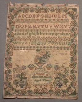 "Sampler: inscried, ""Elizabeth Harris Aged 13"""