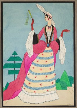 A History of Costume: Woman dressed in the style of ca. 1685-1725