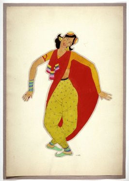 Untitled (Woman with a Red Sari), one of a set of ten costume designs for the ballet, Bluebeard