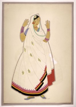 Untitled ( Woman in a White Sari with Multi-colored Trim), one of a set of ten costume designs for the ballet, Bluebeard