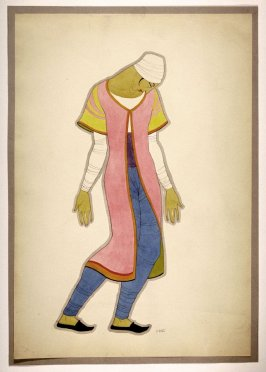 Untitled (Male Figure with Blue Leggings), one of a set of ten costume designs for the ballet, Bluebeard
