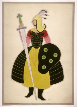 Untitled ( Warrior), one of a set of ten costume designs for the ballet, Bluebeard