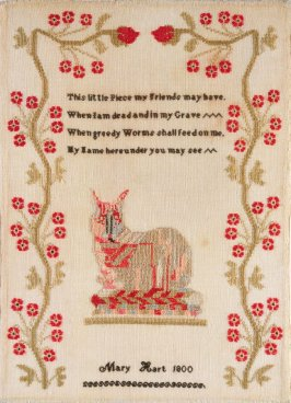 "Sampler: calico cat and verse; inscribed, ""Mary Hart 1800"""