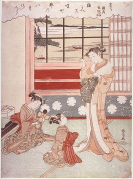 Recently Arrived Kyoto Courtesan Kunihana with Her Kamuro Kameji and Tsuruji (Kyo kudari Kunihana kamuro Kameji Tsuruj) from an untitled series of Kyoto Courtesans