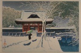 View of the Temple with Snow at Shiba Park in Tokyo