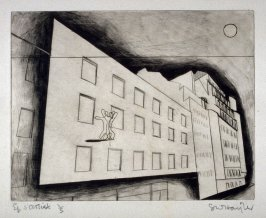 Rue d'Assas (Paysages Urbains), series of six drypoints, in portfolio with ties.