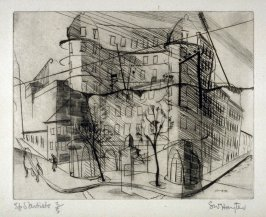 Place Falguiere (Paysages Urbains), series of six drypoints, in portfolio with ties.