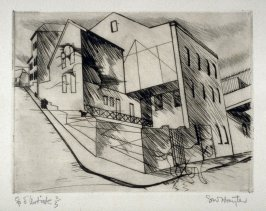 La Villette (Paysages Urbains), series of six drypoints, in portfolio with ties.