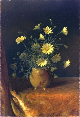 Yellow Daisies in a Brown Bowl