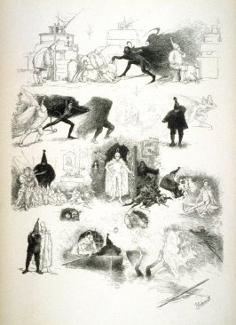 Many sketches of blackness and whiteness, from Le Chat Noir