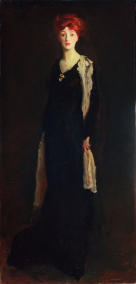 Lady in Black with Spanish Scarf (O in Black with a Scarf)