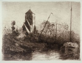 Church near river with boat