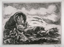Untitled (Covered wagon, resting on the trail)