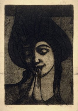 Portrait of a woman in prayer.