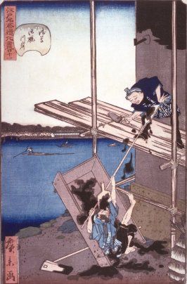 Two Men on Scaffolding Spilling Plaster, no.41 in the series Comic Incidents at Famous Places in Edo (Edo meisho dogi zukushi)