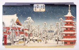 Asukusa Kinryuzan (Snow Scene at Kinryuzan Buddhist Temple, Askausa District) - Pl. E from the portfolio Eight Snow Scenes in the Eastern Capital