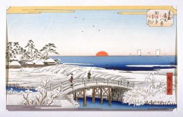Susaki Yuki no Asa (Daybreak after a Snowfall at Susaki) - Pl. D from the portfolio Eight Snow Scenes in the Eastern Capital