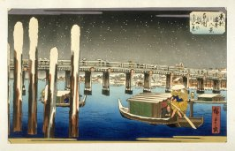Ryogoku Yuki no Yugure (Twilight View of the Snow-clad Ryogoku Bridge) - Pl.H from the portfolio Eight Snow Scenes in the Eastern Capital