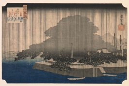 Night Rain on the Karasaki Pine (Karasaki no yau), from the series Eight Views of Ōmi Province (Ōmi hakkei)