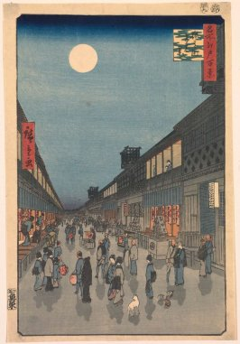 Night View of Saruwaka Street (Saruwakachō yoru no kei), no. 90 from the series One Hundred Views of Famous Places in Edo (Meisho Edo hyakkei)