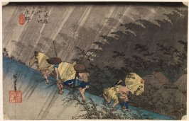 Evening Squall at Shōno (Shōno hakuu), Station 46 from the series Fifty-Three Stations of the Tōkaidō (Tōkaidō gojūsantsugi no uchi)