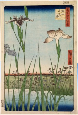 Irises at Horikiri (Horikiri no hana shōbu), no. 56 from the series One Hundred Views of Famous Places in Edo (Meisho Edo hyakkei)