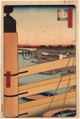 Edo Bridge from Nihon Bridge (Nihonbashi Edobashi), no. 43 from the series One Hundred Views of Famous Places in Edo (Meisho Edo hyakkei)