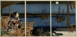 Full Moon at the Harbor or Lady Murasaki Watching the Autumn Moon at Ishiyama