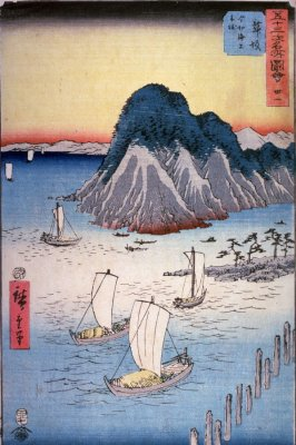 Ferry Boats off Imagiri near Maisaka (Maisaka imagiri kaijo funawatashi), no. 31 from the series Famous Places near the Fifty-three Stations of the Tokaido (Gojusantsugi meisho zue)