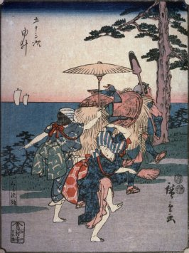 Kurasawa Dancers at Yui (Yui kurasawa odori), no. 17 from a series of Fifty-three Stations of the Tokaido (Gojusantsugi)